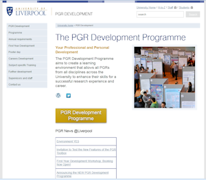 home page of the PGR development web-site